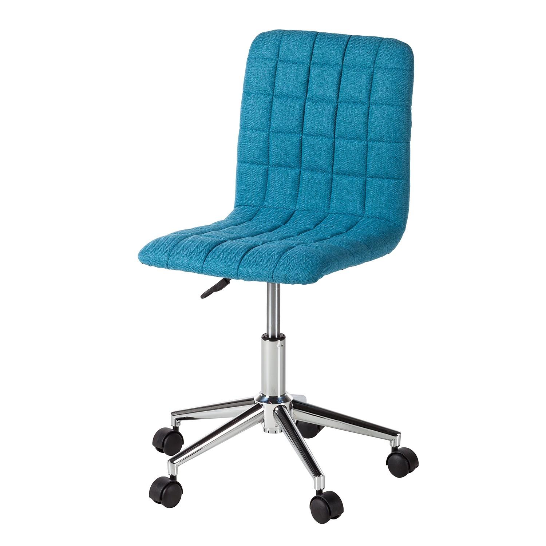 Home 24 - Chaise de bureau arava - tissu / métal - bleu, mooved