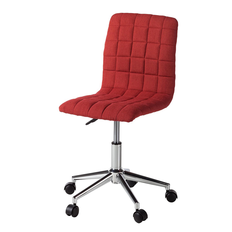 Home 24 - Chaise de bureau arava - tissu / métal - rouge, mooved