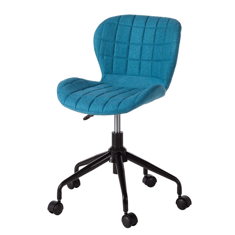 Chaise de bureau harmi tissu mat riau synth tique - Chaise de bureau bleu ...