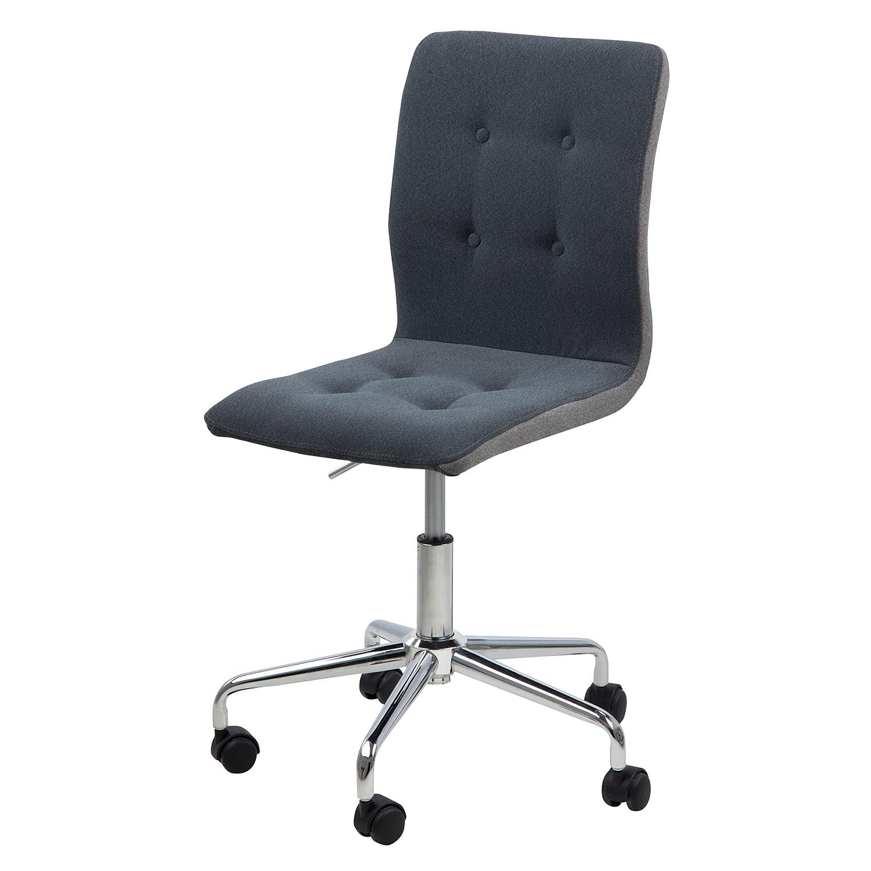 Home 24 - Chaise de bureau pivotante kaja - tissu / chrome - gris foncé / gris clair, morteens