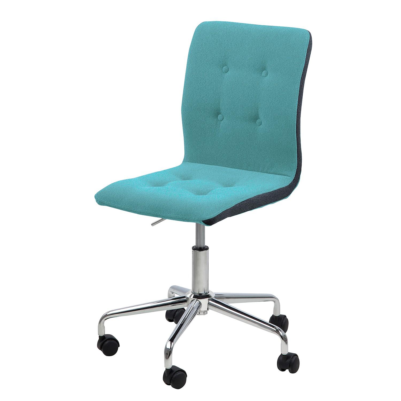 Home 24 - Chaise de bureau pivotante kaja - tissu / chrome - turquoise / gris foncé, morteens