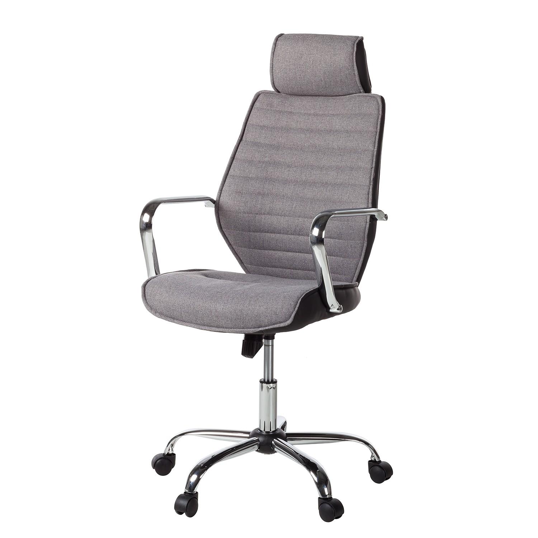 Home 24 - Chaise de bureau kalesi - imitation cuir / métal - gris / noir, fredriks