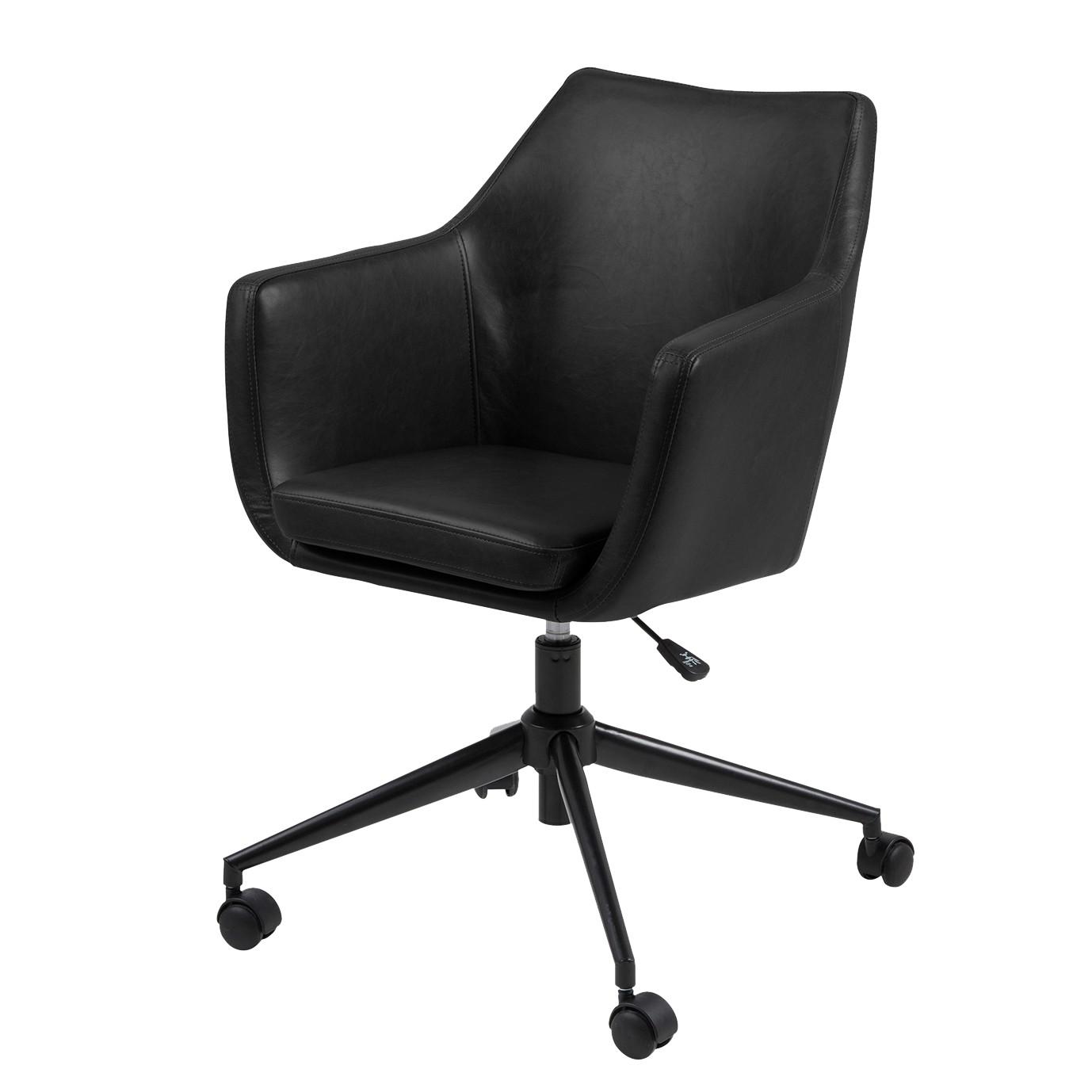 Chaise de bureau nicholas i imitation cuir m tal noir morteens meubles en - Chaise imitation cuir ...