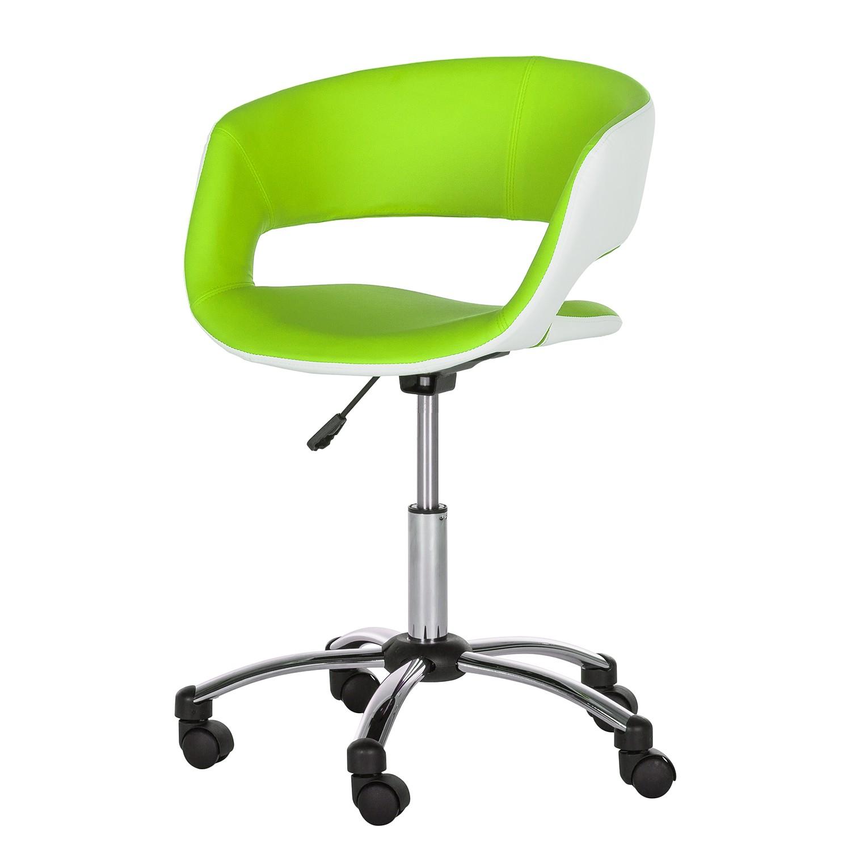 Home 24 - Chaise de bureau pivotante prace - imitation cuir - vert pomme / blanc, roomscape