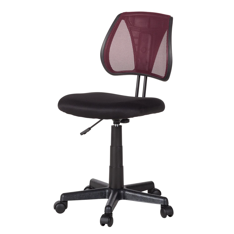 Home 24 - Chaise de bureau pivotante seda - mesh - noir / rouge, mooved