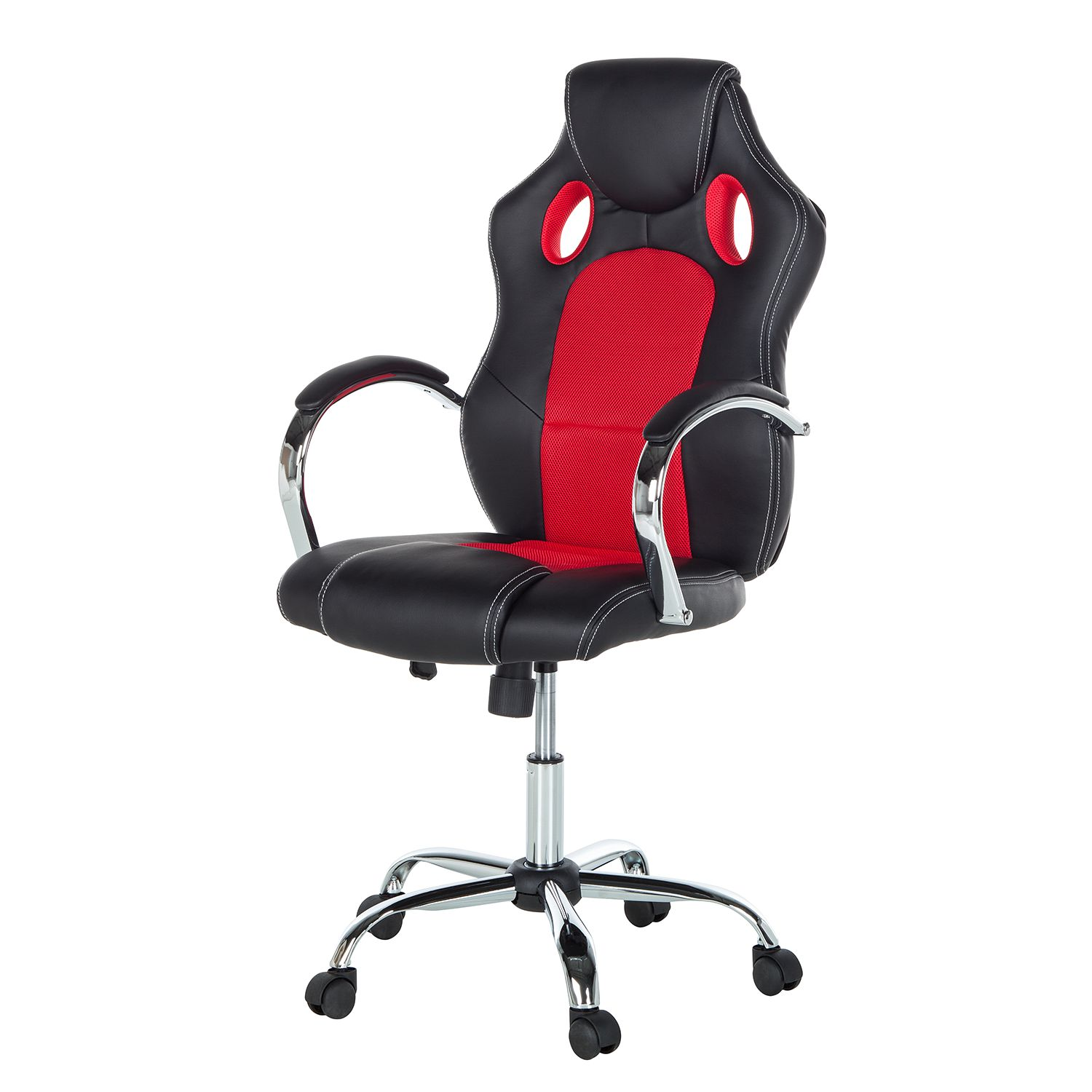 Gaming Chair Yanis - Kunstleder / Mesh - Schwarz / Rot, mooved