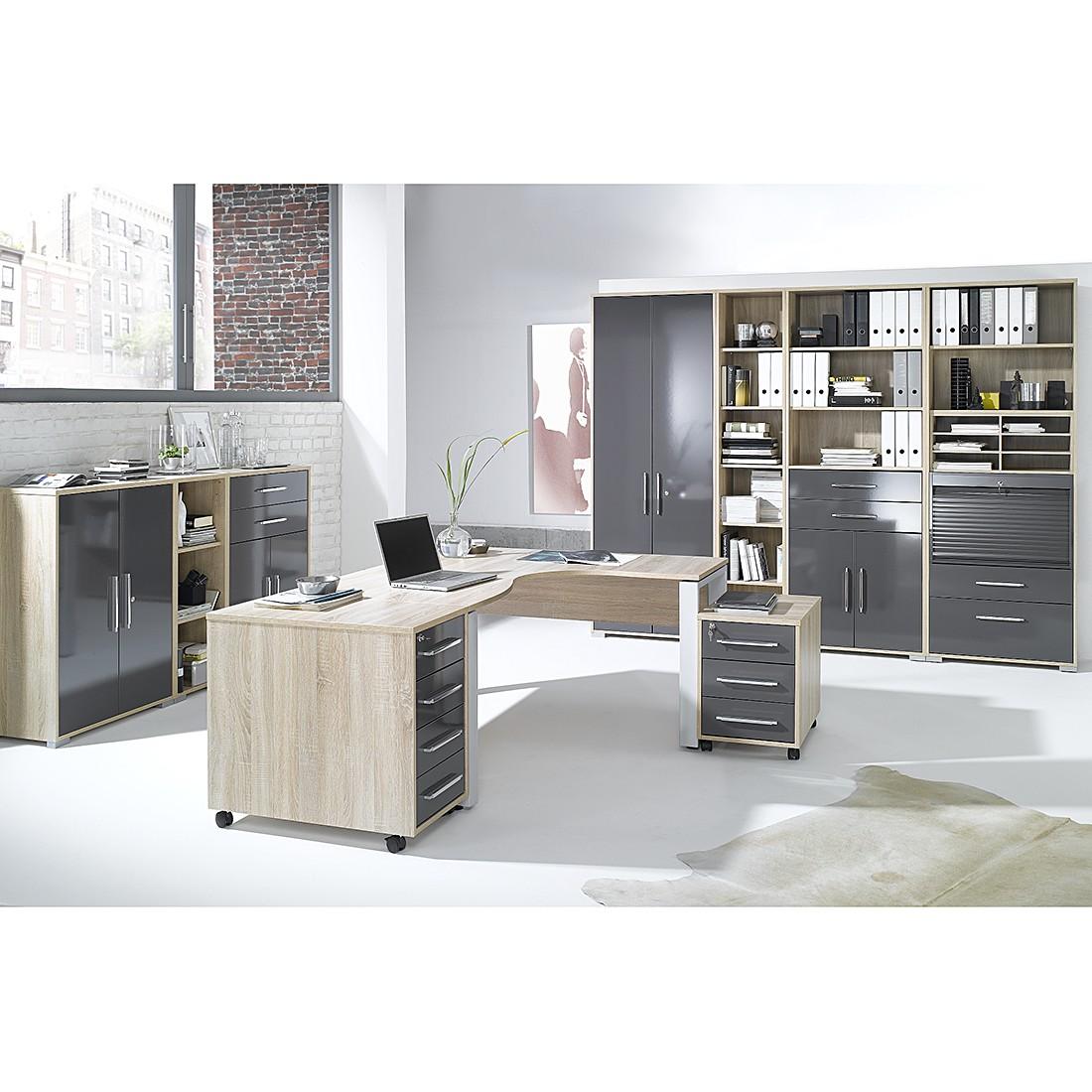 Home 24 - Combinaison de bureau merit v (10 éléments) - imitation chêne de sonoma / gris brillant, maja möbel