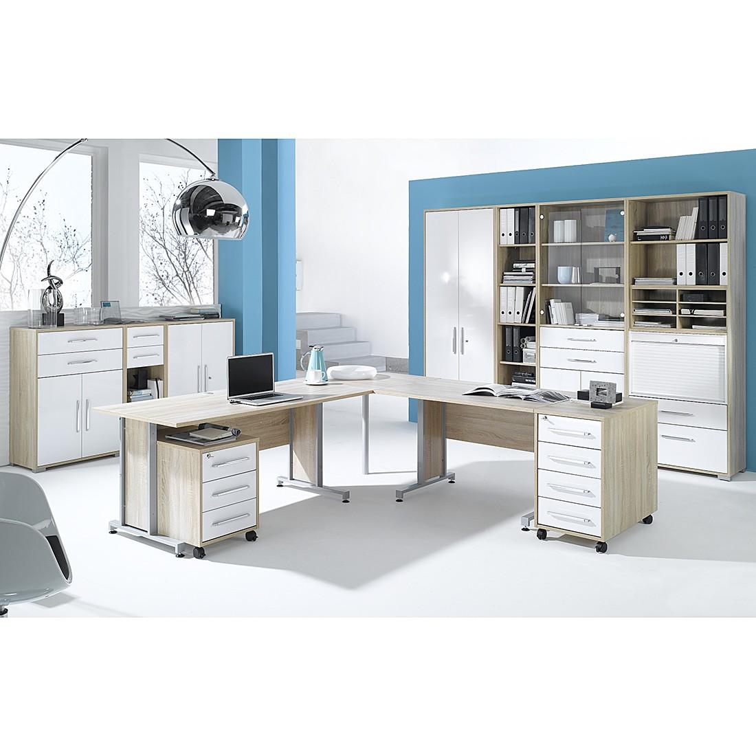 Home 24 - Combinaison de bureau merit vii (12 éléments) - imitation chêne de sonoma / blanc brillant, maja möbel