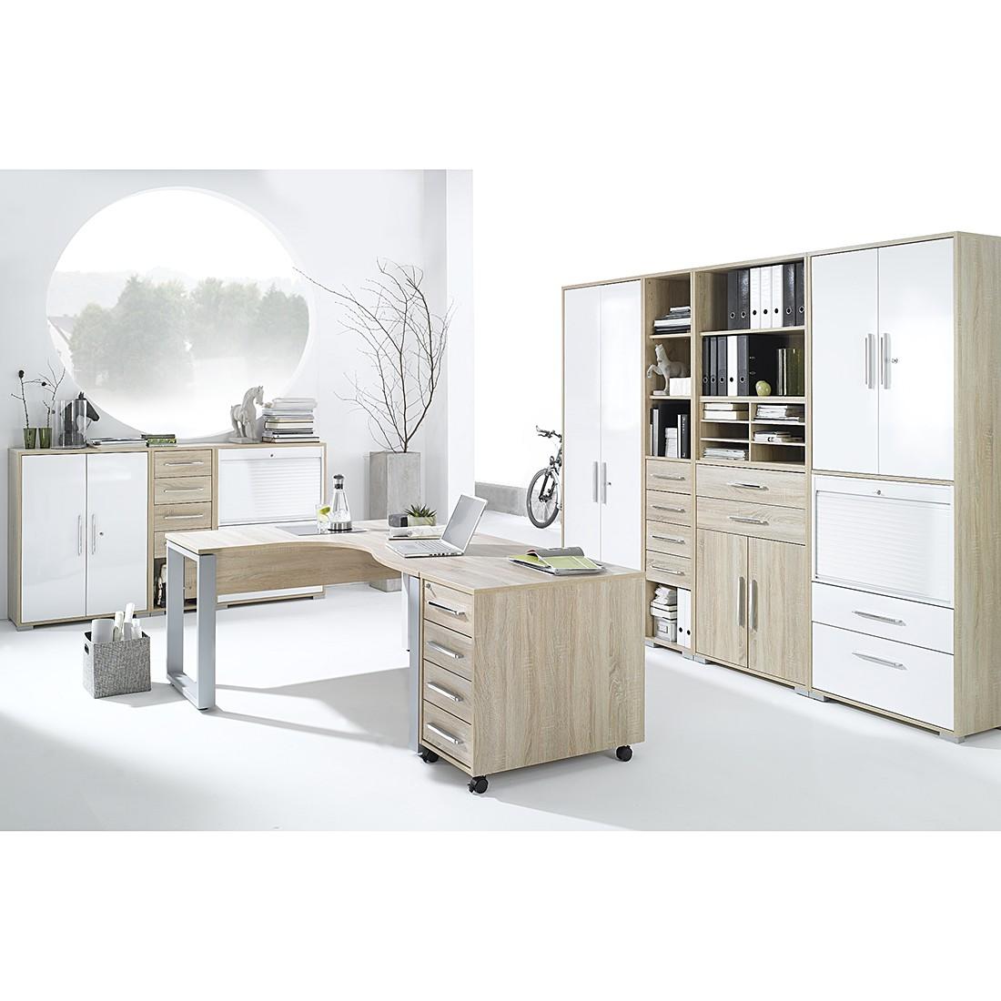 Home 24 - Combinaison de bureau merit xi (9 éléments) - imitation chêne de sonoma / blanc brillant, maja möbel
