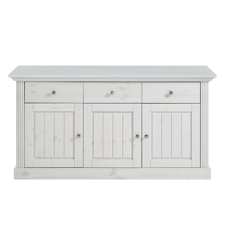 Home 24 - Buffet lyngby - pin massif - blanc, maison belfort