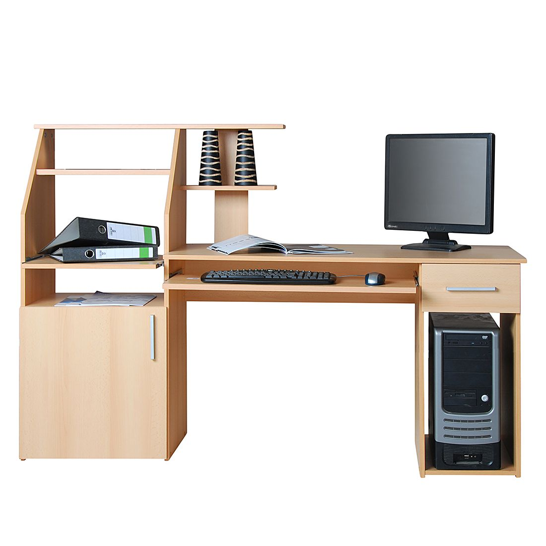 Bureau pour ordinateur Glen - Imitation hêtre, home24 office