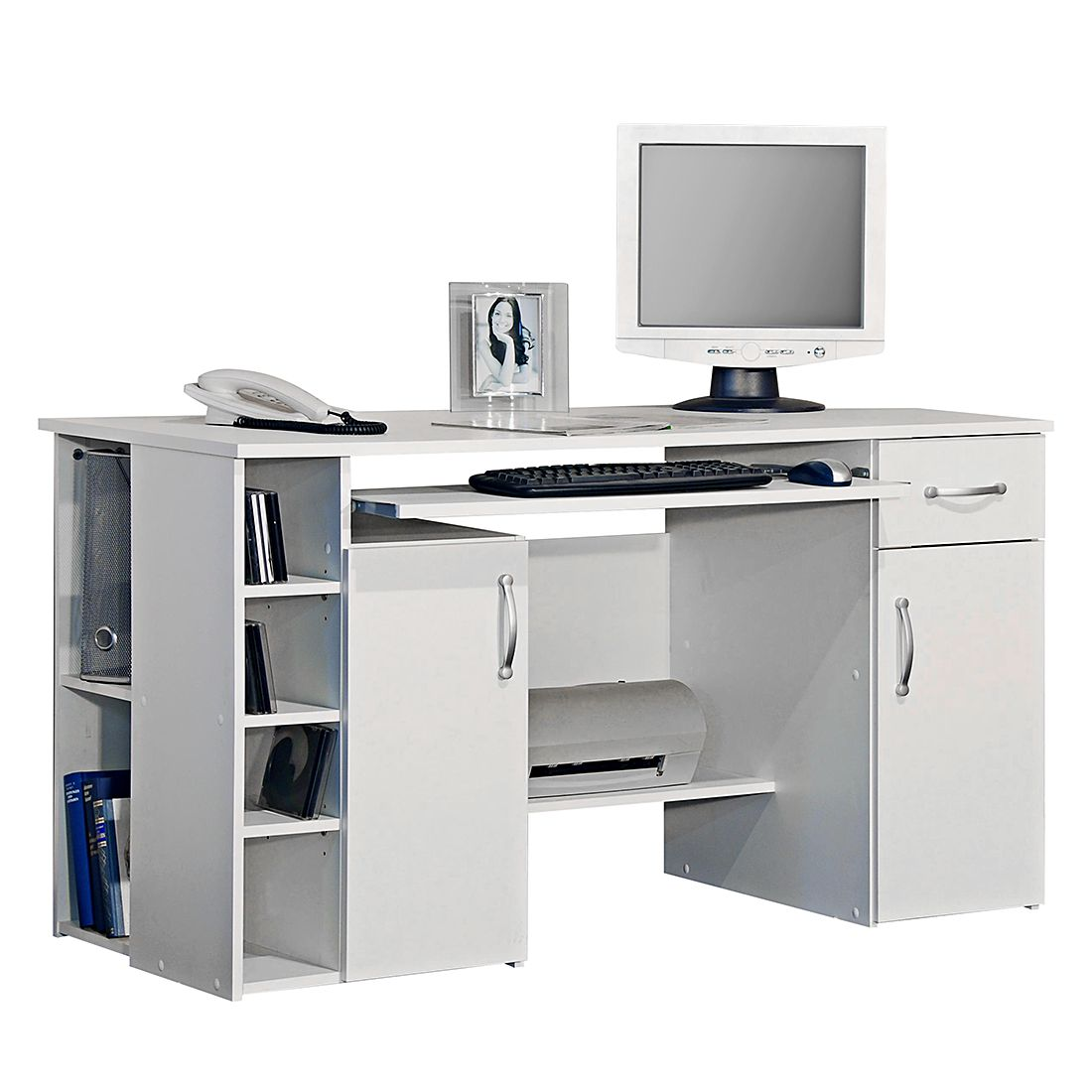 Bureau pour ordinateur Jasper - Blanc, home24 office
