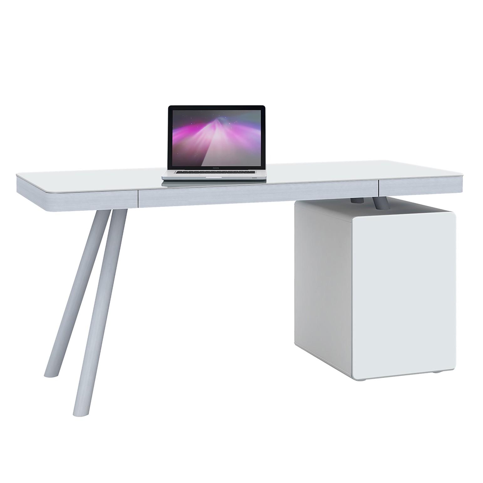 Bureau pour ordinateur Mitaka - Verre blanc / Aluminium - Blanc / Argenté mat, Maja Möbel
