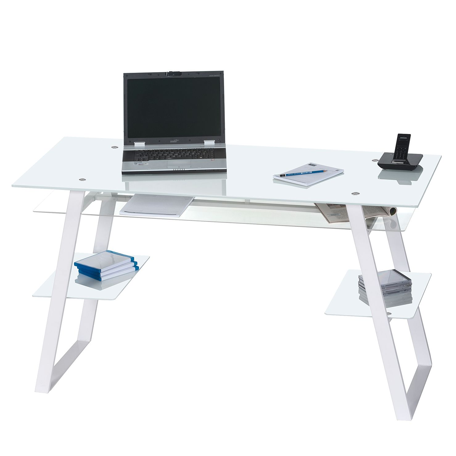 Bureau pour ordinateur Nishio - Métal / Verre blanc - Blanc, Maja Möbel