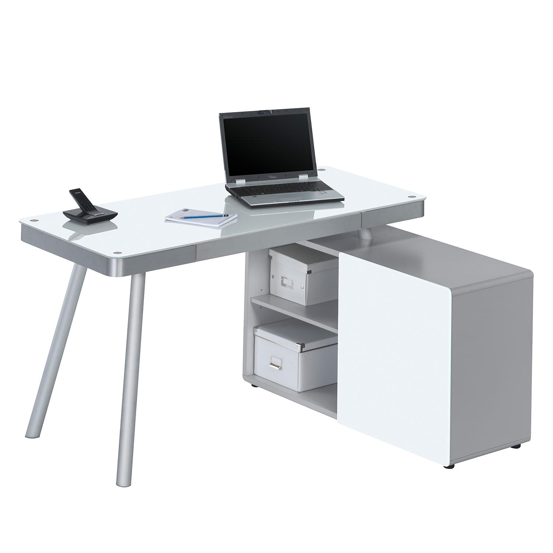 Home 24 - Bureau pour ordinateur suita - verre blanc / aluminium - blanc / argenté mat, maja möbel