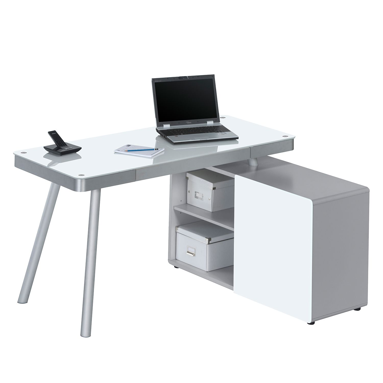 Bureau pour ordinateur Suita - Verre blanc / Aluminium - Blanc / Argenté mat, Maja Möbel