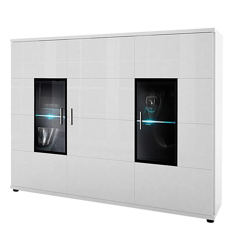 Home 24 - Eek a+, buffet corana - 3 portes - blanc brillant - avec éclairage, loftscape