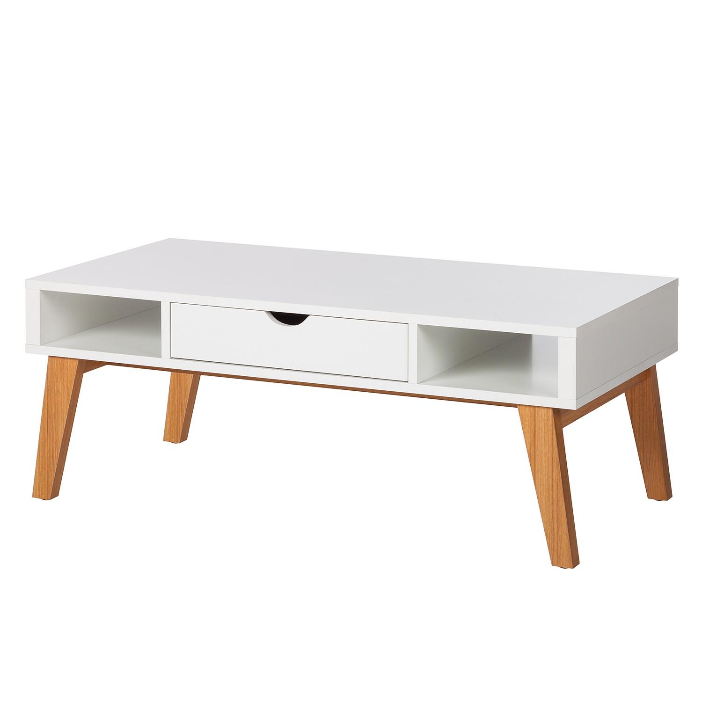 Table basse Brekille - Blanc / Chêne, Morteens