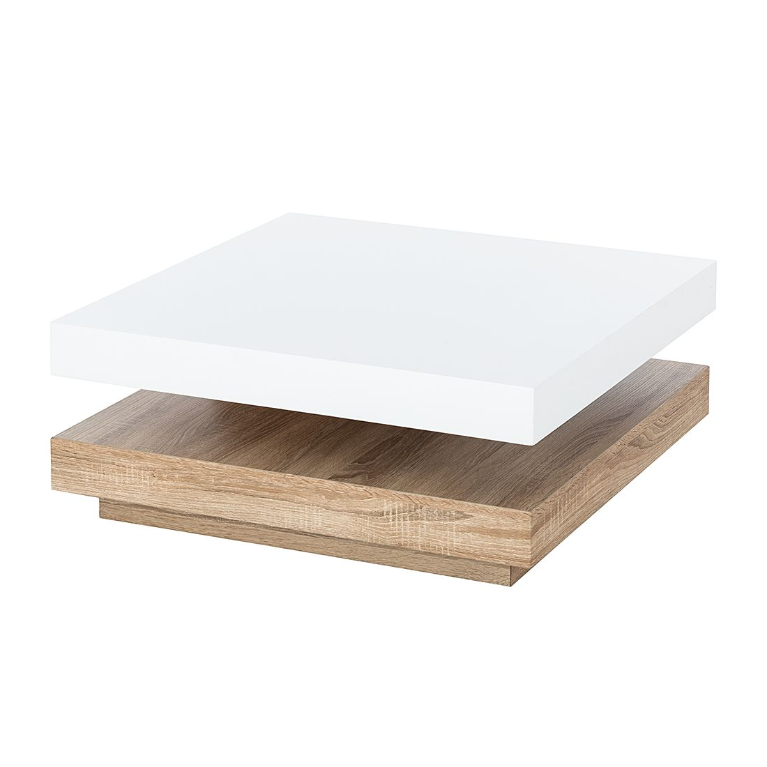Table basse Emblaze - Blanc brillant / Imitation chêne de Sonoma clair, Fredriks