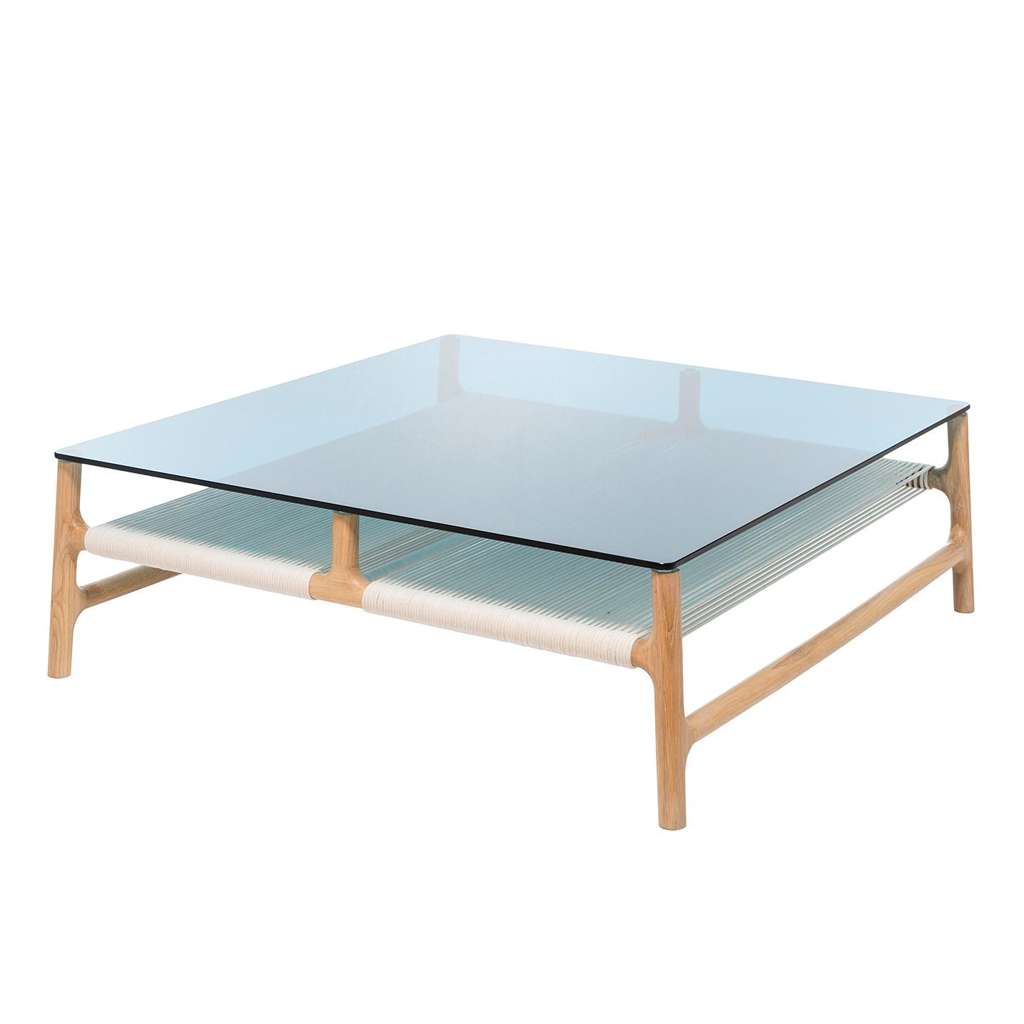 Table basse Fawn - Verre / Chêne massif - Chêne / Bleu, Gazzda