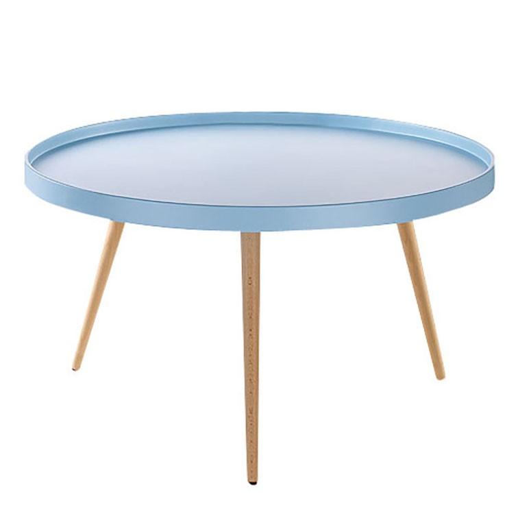 Table basse Flicka I - Hêtre partiellement massif - Bleu clair mat, Morteens