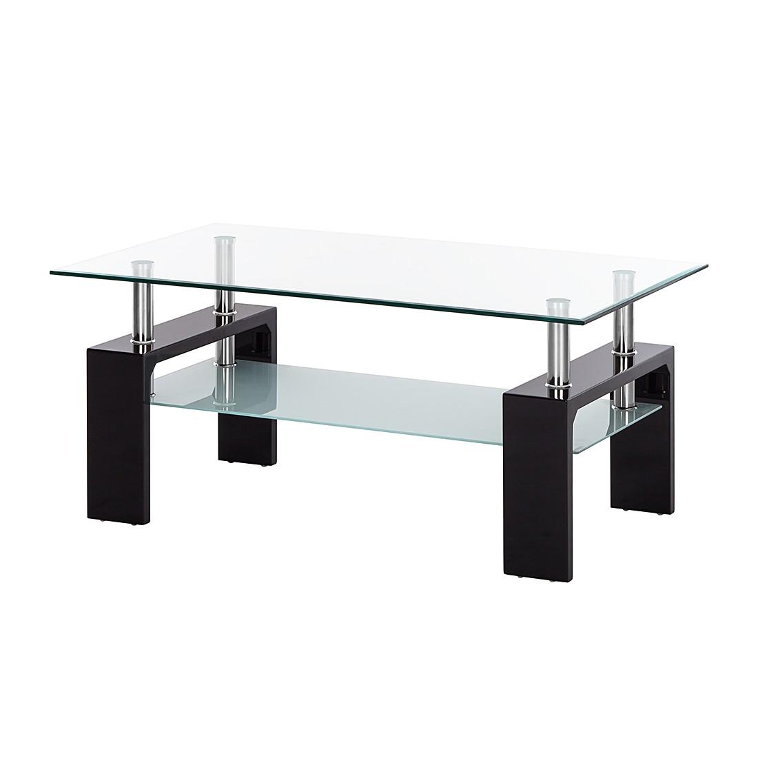 Tavolino da salotto Glassy - Vetro trasparente/Nero, roomscape