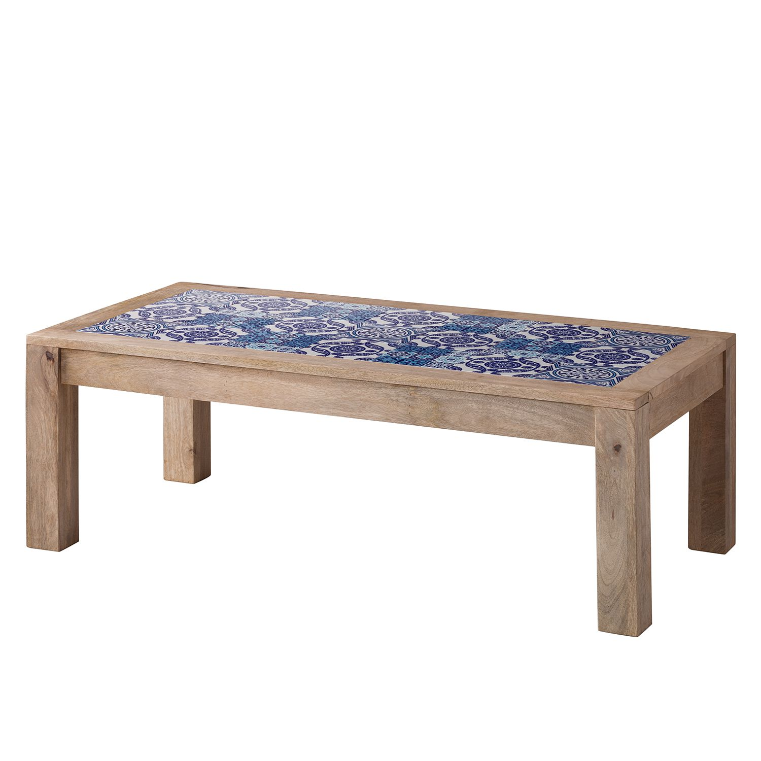 Table basse Ibiza - Manguier massif / Céramique - Manguier / Bleu, ars manufacti