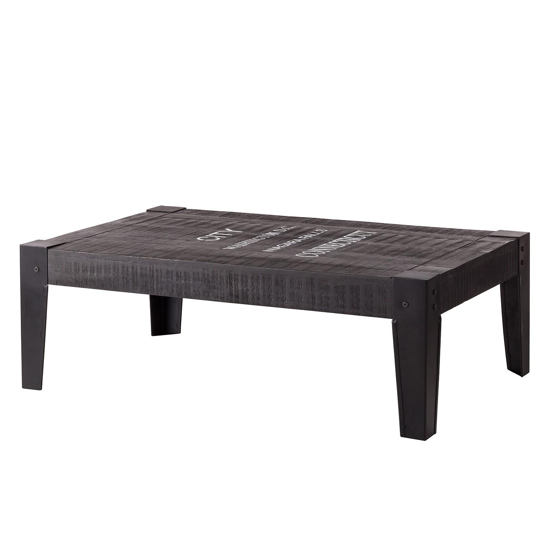 Tavolino da salotto Keyport - legno massello di mango - grigio cenere / nero - 120 x 75 cm, ars manufacti