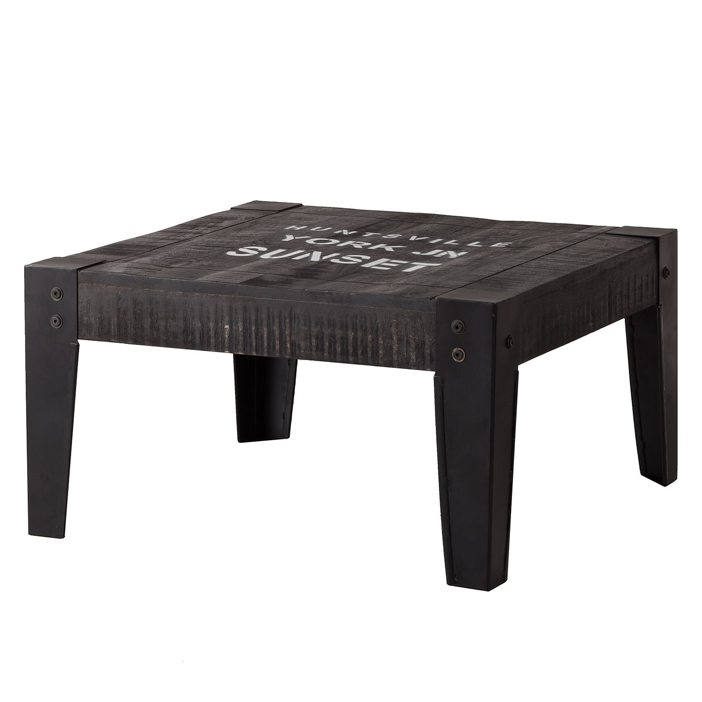 Table basse Keyport - Manguier massif - Gris cendres / Noir - 75 x 75 cm, ars manufacti