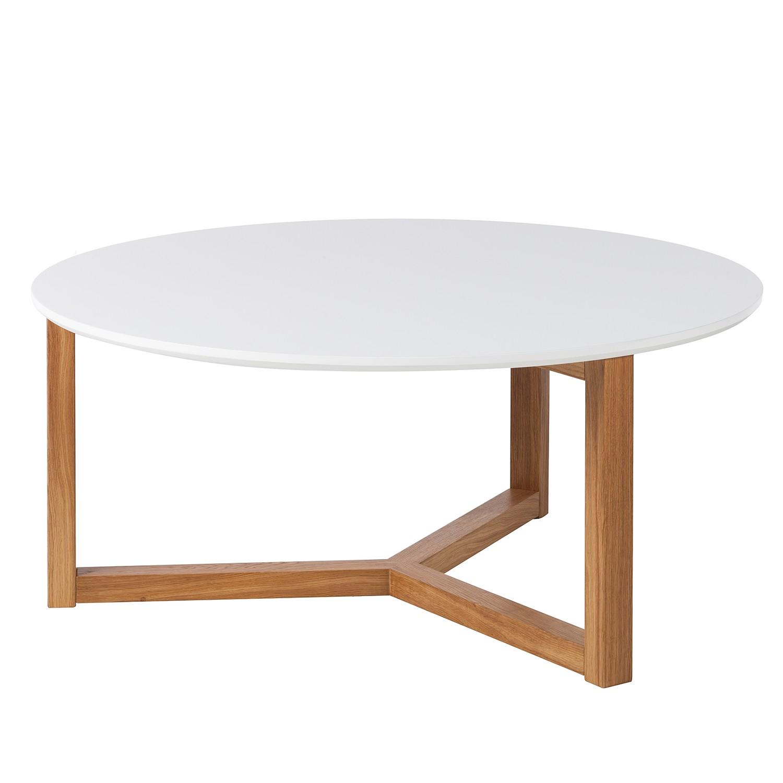 Tavolino da salotto Kumano - Parzialmente in legno massello di quercia Bianco opaco, Morteens