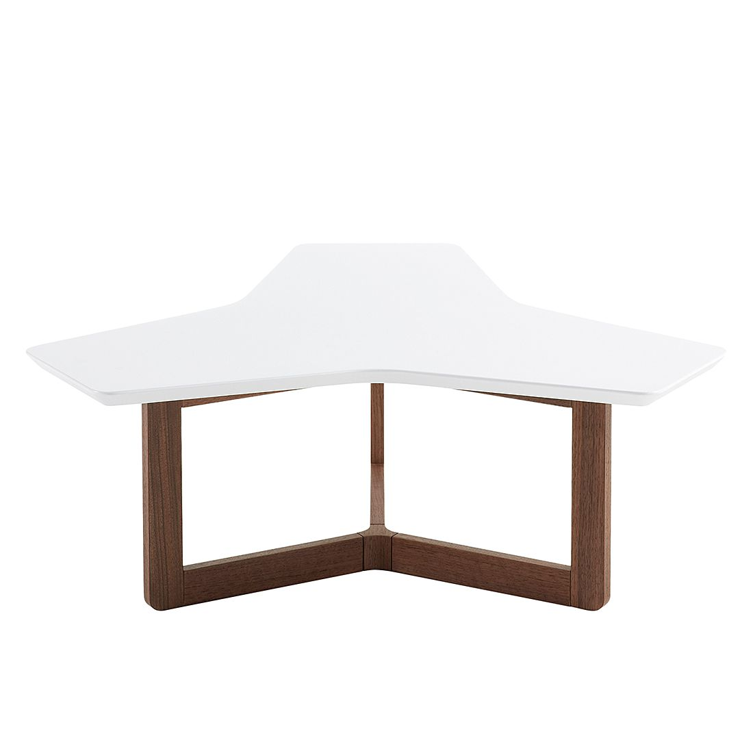 Table basse Larne - Blanc mat / Noyer, Morteens