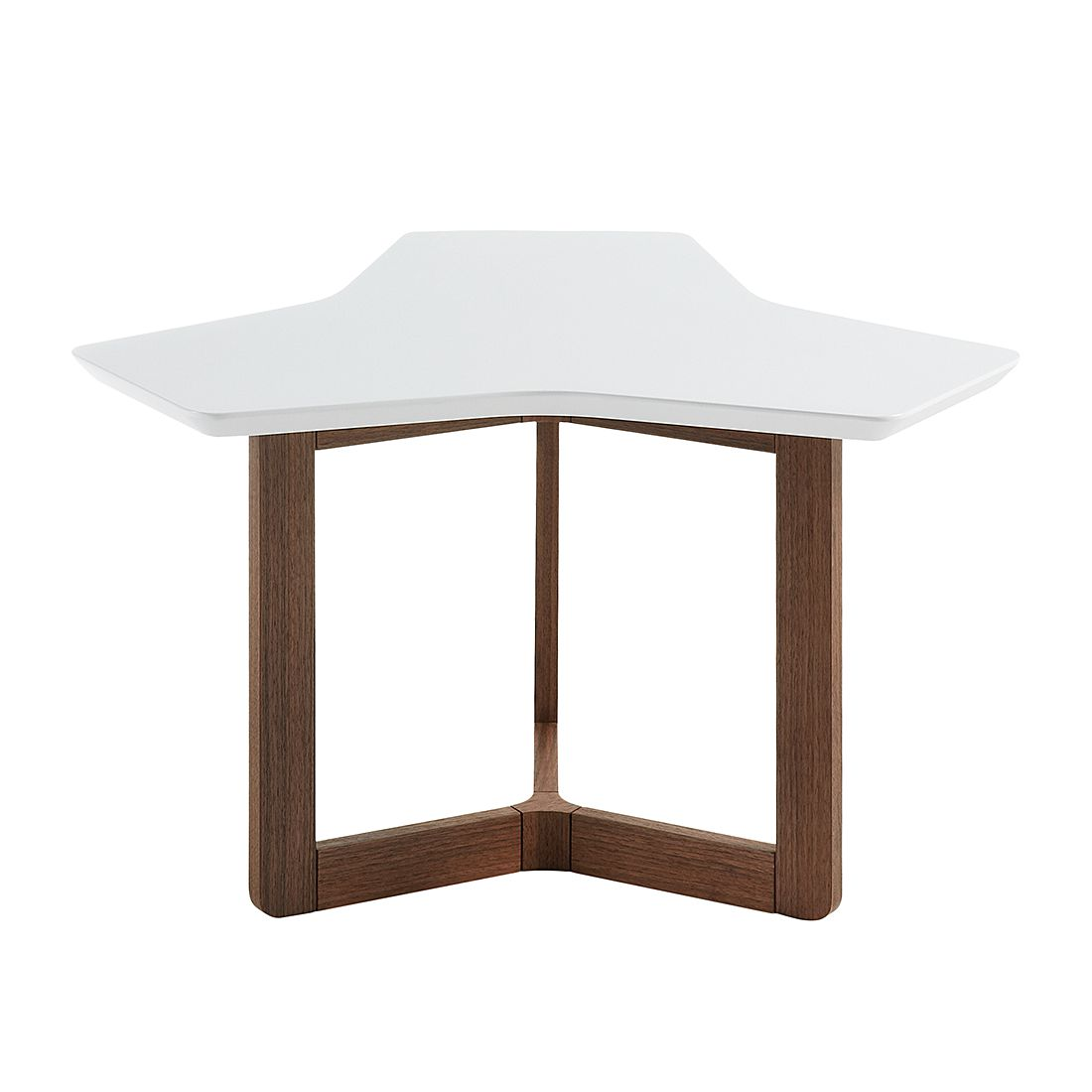 Table d'appoint Solberga - Blanc mat / Noyer, Morteens