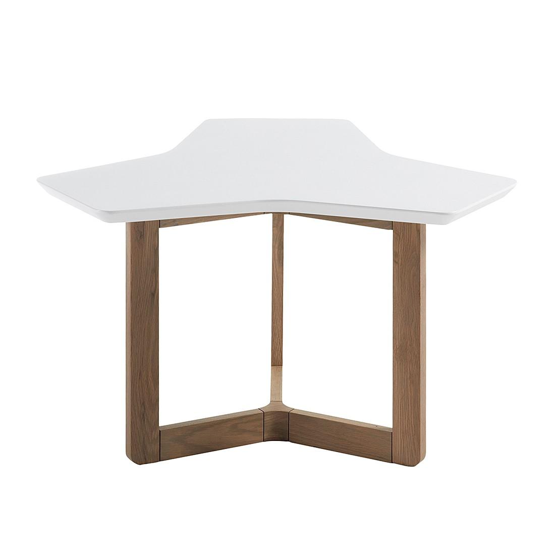 Table d'appoint Solberga - Blanc mat / Chêne, Morteens