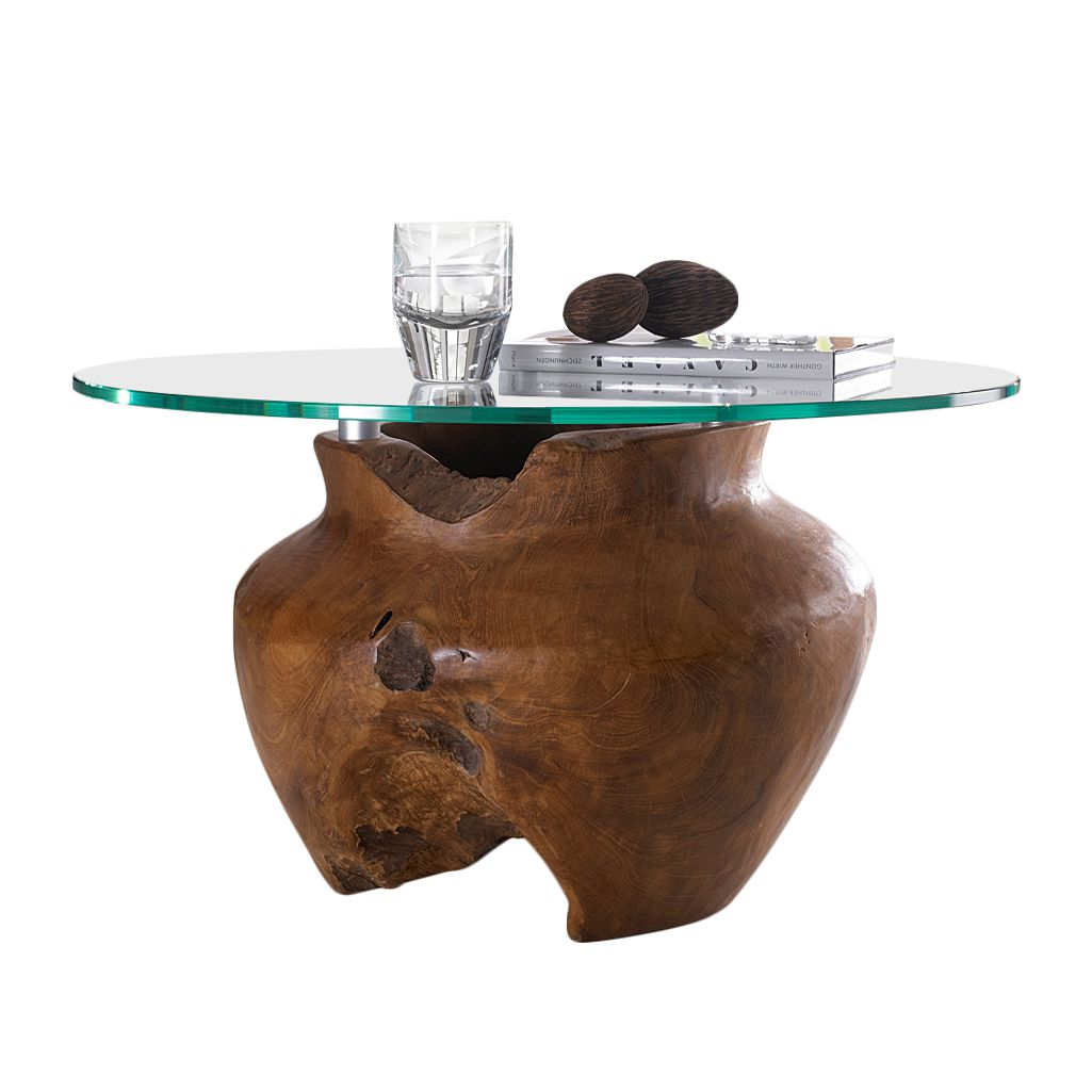 Table basse Lavezzi II - Teck massif - Ciré, poli, Red Living