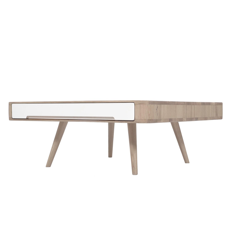 Table basse Loca I - Chêne sauvage partiellement massif - Blanc / Chêne sauvage lumière, Studio Cope