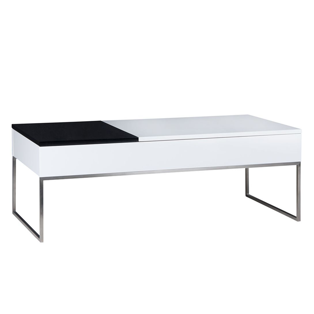 Table basse Max - Blanc / Noir brillant, Fredriks