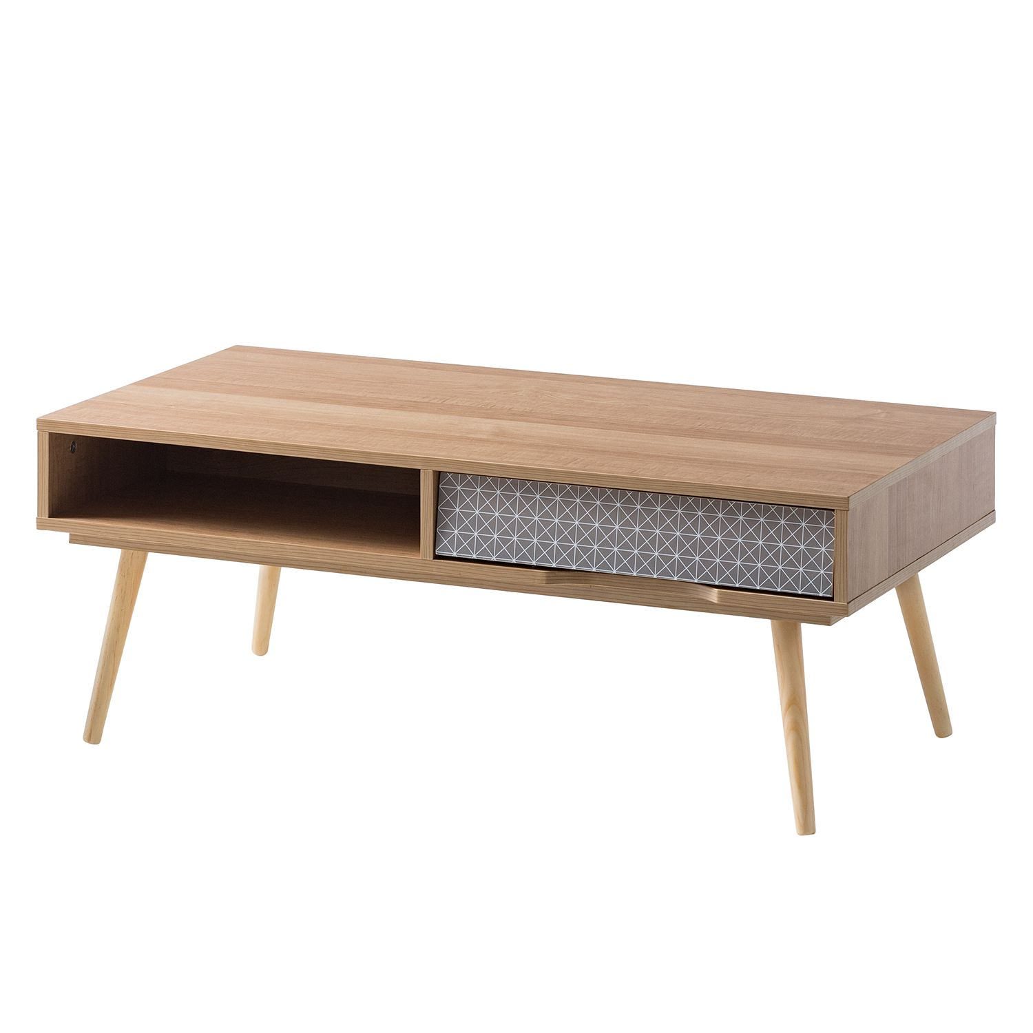 Table basse Longwick II - Partiellement en pin massif - Pin / Gris, mooved