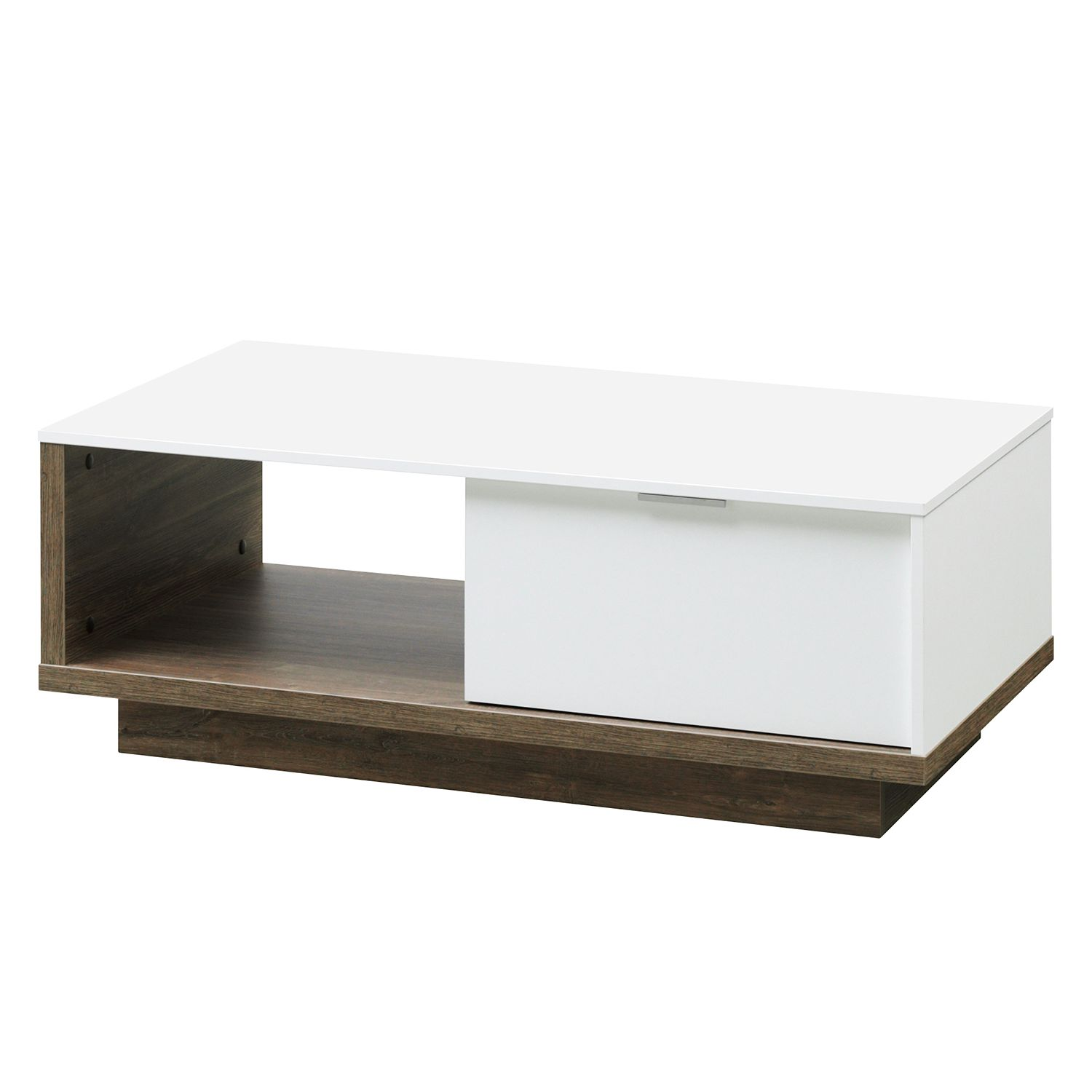 Table basse My Ell - Blanc / Imitation chêne de Stirling, Cs Schmal
