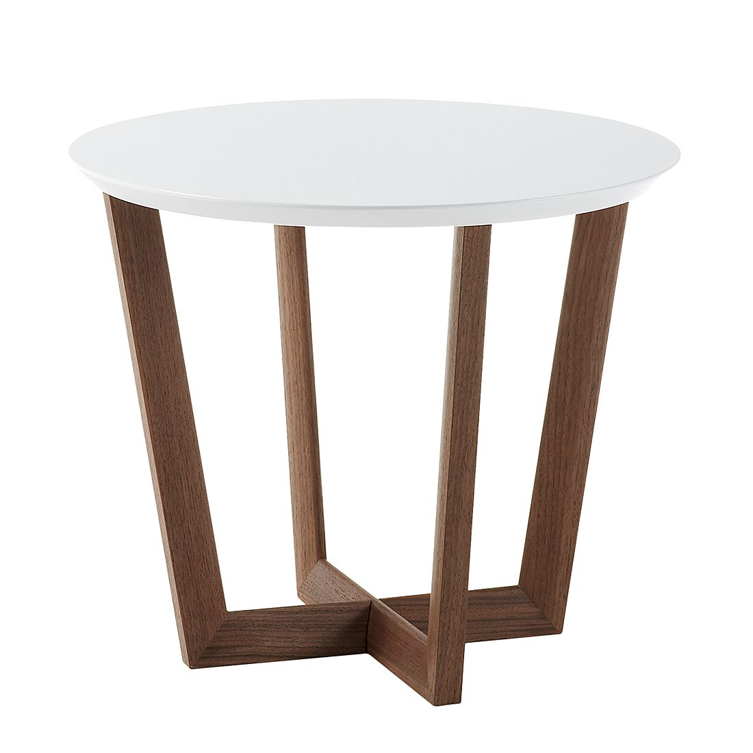 Table d'appoint Limmared - Blanc mat / Noyer, Morteens