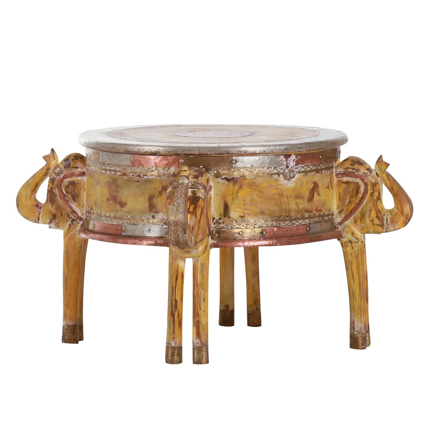 Tavolino da salotto Panjim - Legno massello di mango - Giallo, Red Living