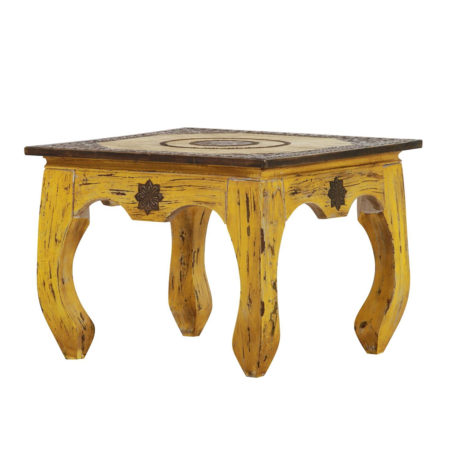 Tavolino da salotto Rangun - Legno massello di mango - Giallo, Red Living