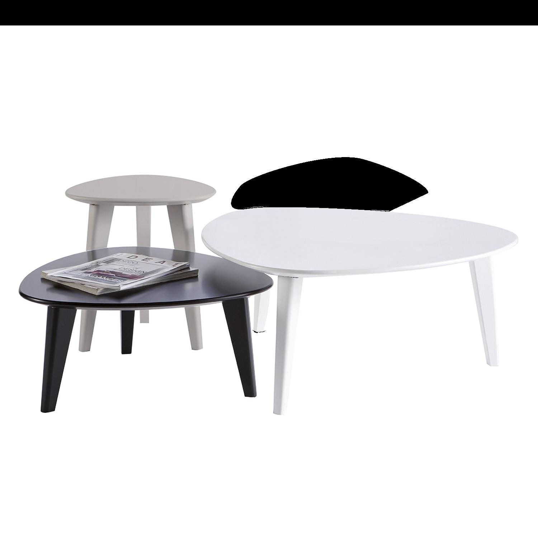 Couchtisch Set Burie 3 Teilig Weiss Schwarz Grau Beistelltisch