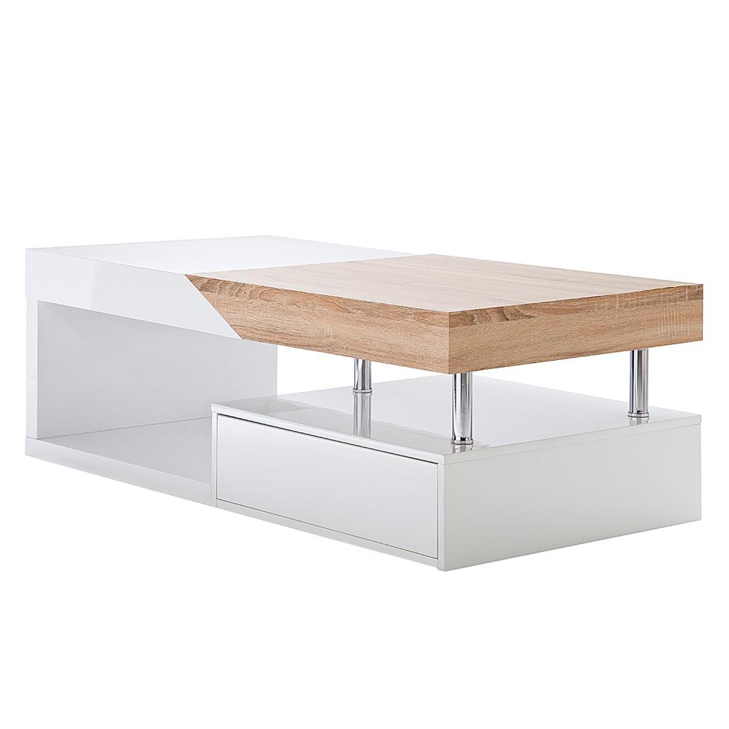 Tavolino da salotto Smithers - Bianco lucido/Decorazione in quercia non trattata, Fredriks
