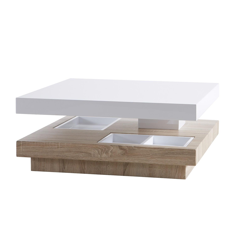 Table basse Someren - Imitation chêne rugueux / Blanc, mooved