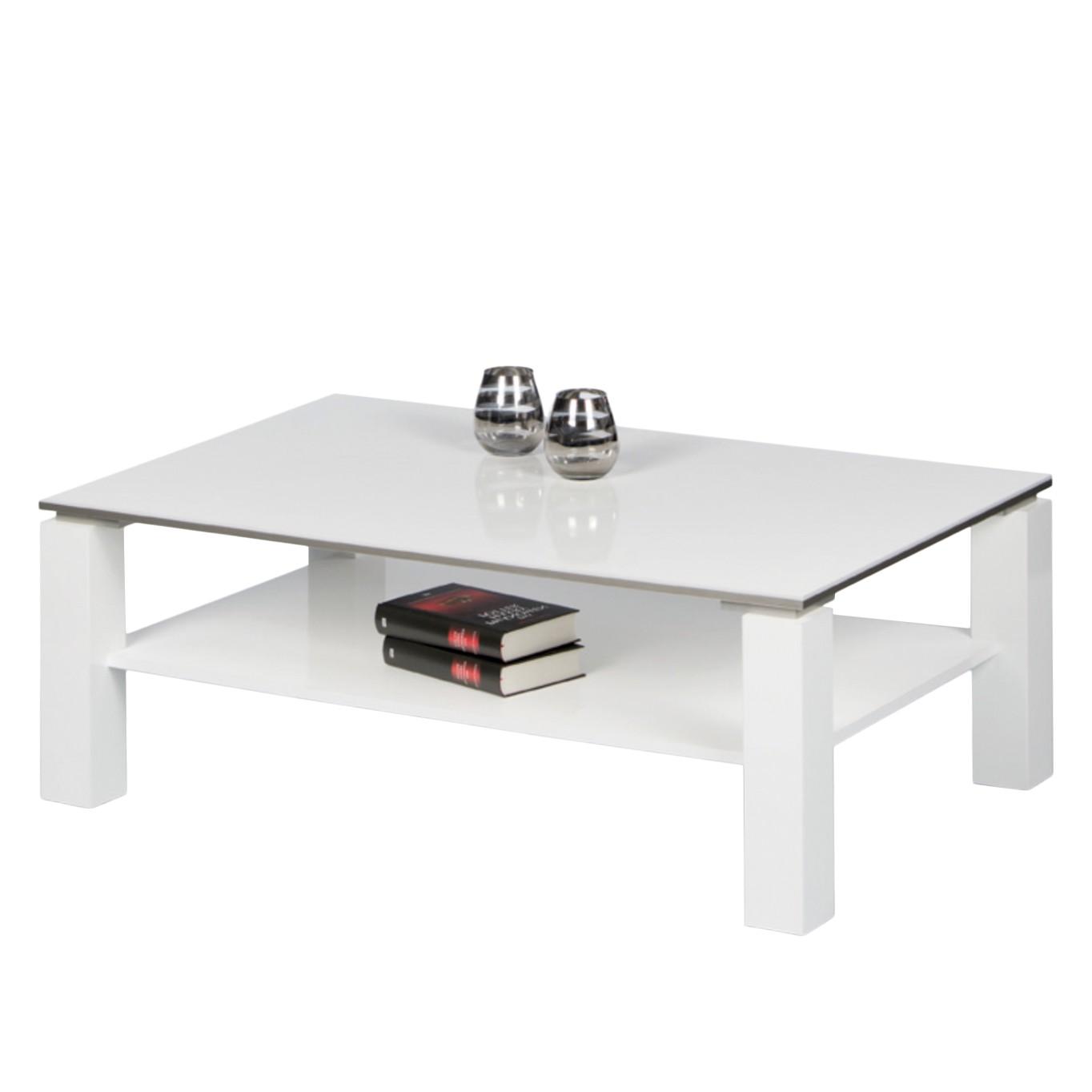Table basse Vidora - Blanc brillant / Blanc - 110 x 70 cm, mooved