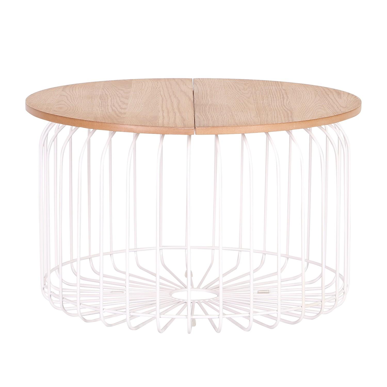 Tavolino da salotto Wire - Impiallacciato con vero legno di quercia/Metallo - Quercia chiara/Nero, Studio Copenhagen