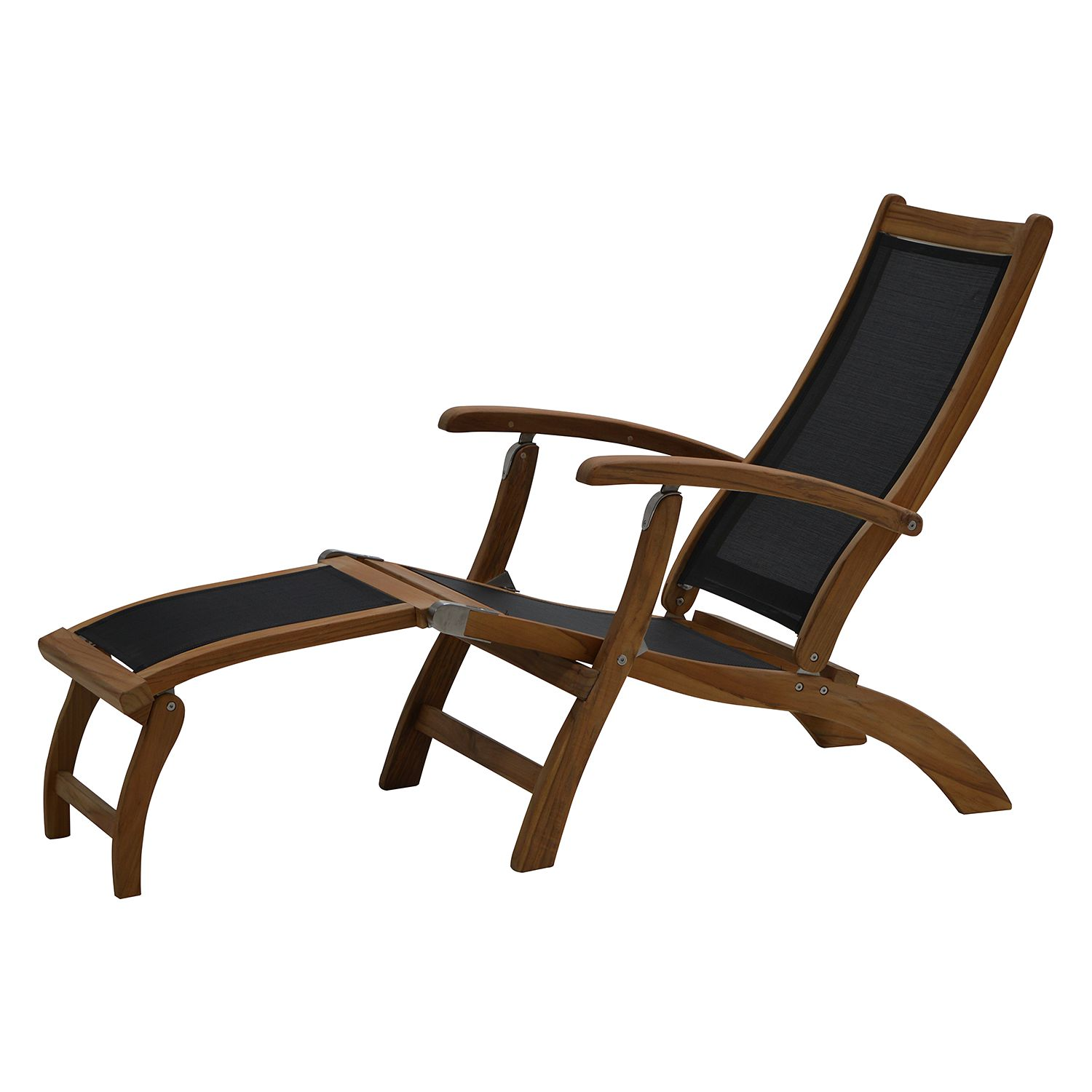 deckchair fairchild textilene teak massiv schwarz. Black Bedroom Furniture Sets. Home Design Ideas