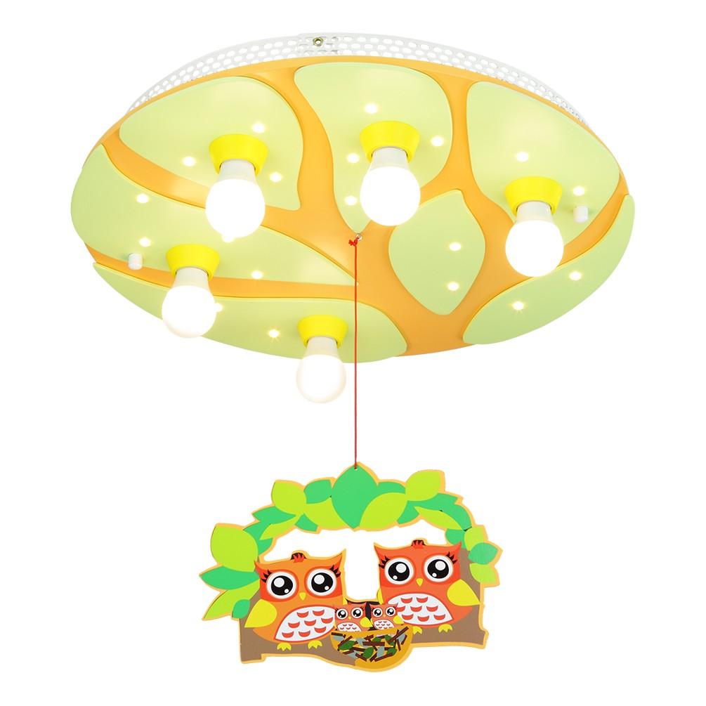 energie  A+, Plafondlamp Boom met uilennest 5/20 - hout 4 lichtbronnen, Elobra