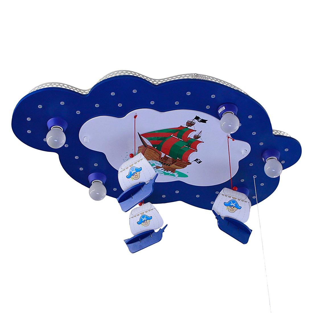 Home 24 - Eek a+, plafonnier nuage avec image de bateau pirate 5 / 40 - bois ampoules, elobra