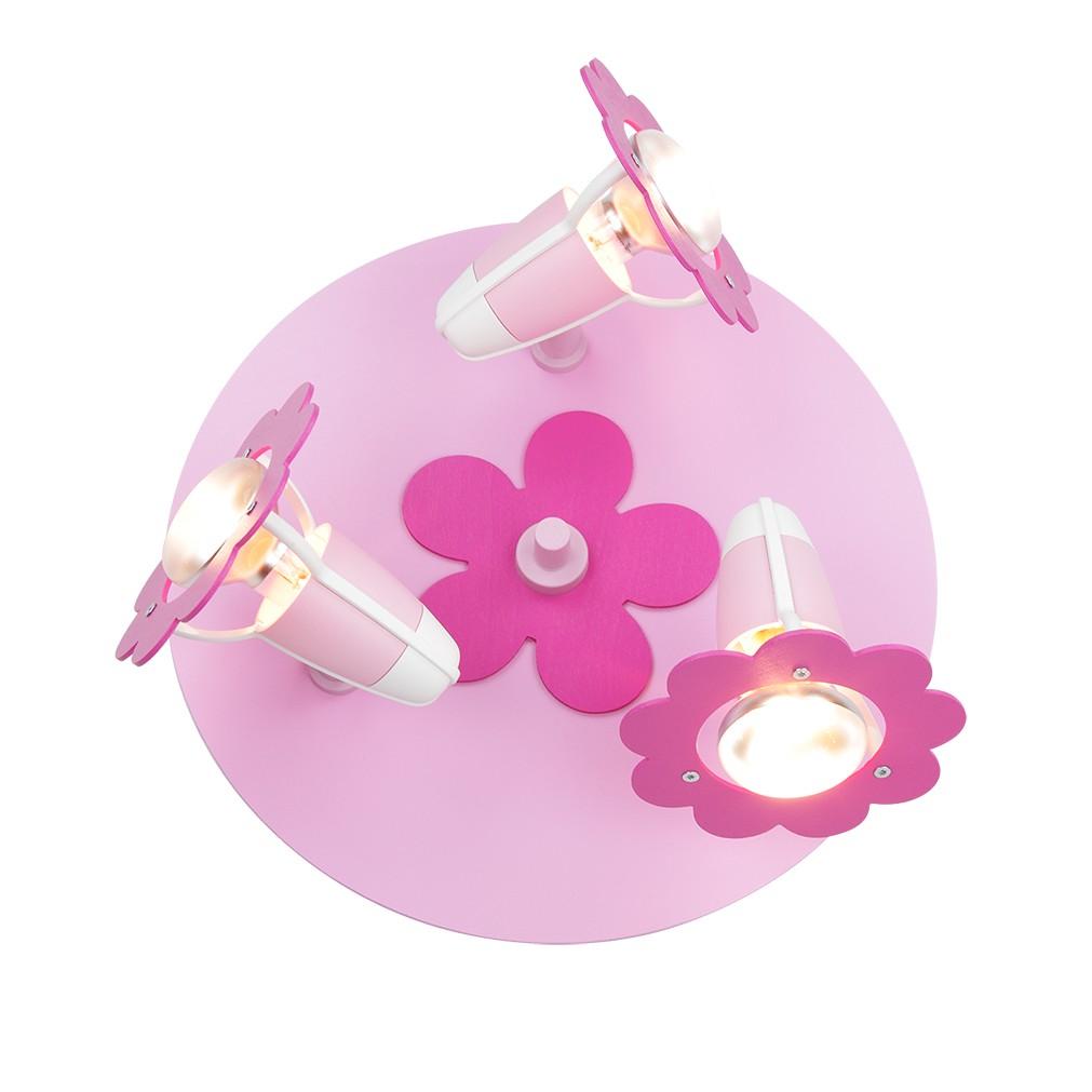 Home 24 - Eek a++, plafonnier fleur - bois 3 ampoules, elobra
